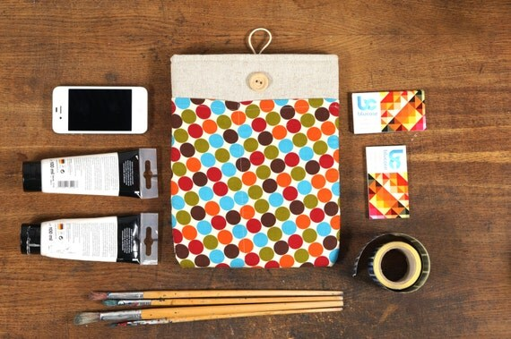 White Linen iPad Case with colorful retro dots print pocket. Padded Cover for iPad 1 2 3 4. iPad Sleeve Bag.