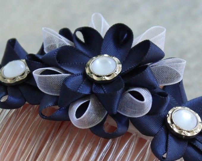 Navy Hair Comb, Navy Flower Hair Comb, Navy Blue Hair Accessories, White Navy Blue Hair Flowers, White and Navy Wedding, Navy Blue Wedding