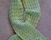 Crochet scarf with flower on each end, pistachio, 63 inch