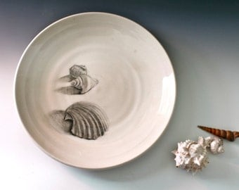 White Platter, white porcelain dinner plate, Beach theme dinnerware