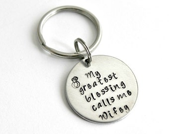My Greatest Blessing Hand stamped Keyring