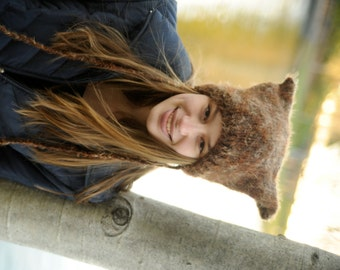 Fuzzy Brown Animal Hat