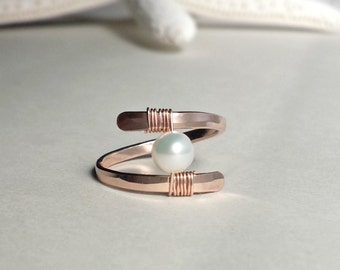 Rose Gold Pearl Ring, Pearl Solitaire Ring, Hammered Rose Gold, Minimalist Wire Ring, Boho Ring: Choose Your Color