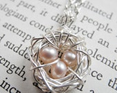"Petite Birdnest Necklace, Three Little Eggs in a Petite Nest, Wire Wrapped Cultured Freshwater Pearl ""Eggs"""