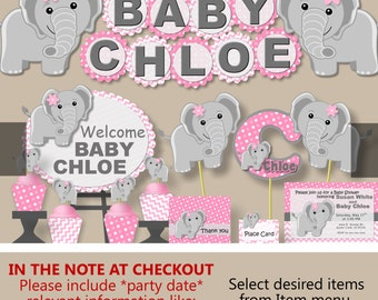 Baby Elephant Baby Shower Decorations for Girl or 1st First Birthday Party Package, Invitation, Banner, Favor tag, Cupcake Topper, Invite