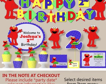 Elmo Birthday Party Decorations, Sesame Street Birthday -Party Package, Banner, Cake Topper, Invitation