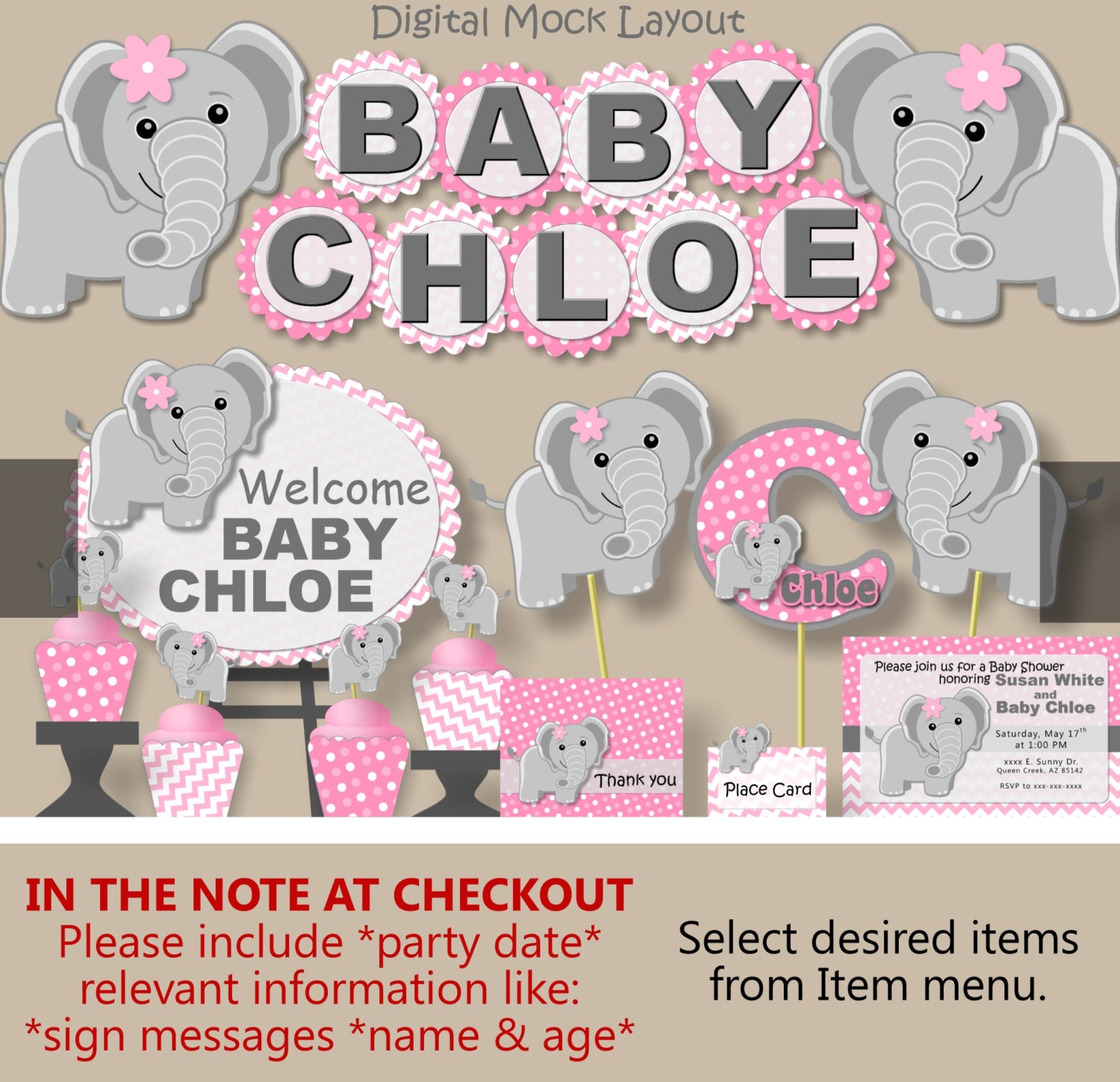 Baby Elephant Baby Shower Decorations for Girl or 1st First