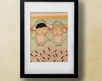 Romantic Wall Art Poster for Music Lovers // Time Well Spent // Cute Retro Illustration Art Print