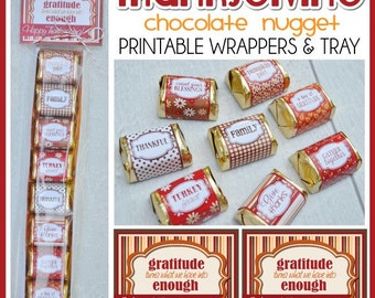 THANKSGIVING Chocolate Nugget Wrappers, Give Thanks Favor or Turkey Day Treat - Printable Instant Download