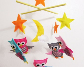 "Baby Mobile - ""Twinkling Stars"" Nursery Mobile - Decorative Stars Crib Mobile - Pink and Grey Night Owls mobile "" (Match your bedding)"