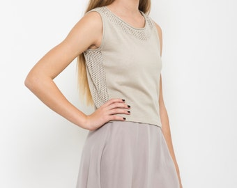 Ivory crop top, summer Beige shirt, semi sheer knit, sleeveless tank, day to night top, knit top, tank top, knitted top, casual crop, sale
