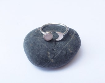Sterling Silver Crescent Moon and Rose Quartz Ring