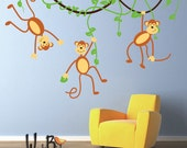 Monkeys and Vines Decal, Vinyl Wall Decal for Nursery, Kids, Childrens Room, teen decal