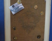 Steam Punk Burlap Bulletin Board with Brass Pins