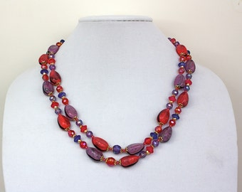 Vintage 60s Gead Necklace Double Strand Pink Purple Plastic Beads Gold Metal Hook  Signed