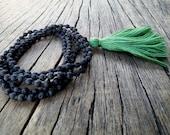 Tassel Lava Mala Necklace, Knotted Mala Necklace, Black Lava Mala Beads Long Tassel Necklace, Yoga Meditation Beads, Santorini Mala Necklace
