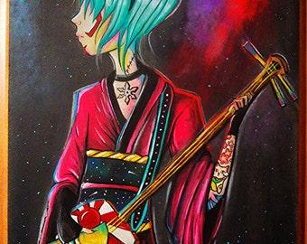 "14.5"" x 17.5"" Original Painting- Shamisen Girl"