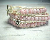 Soft Pink Triple Wrap Bracelet - Leather Wrap Bracelet - Wrap Bracelet - Wrap Around - Beaded Wrap Bracelet