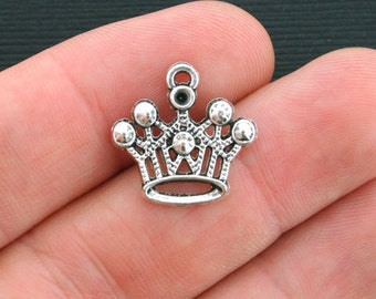 BULK 30 Crown Charms Antique Silver Tone - SC4014