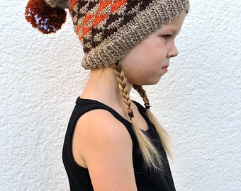 Toddler Baby Boy / Girl Hand Knitted Slouch Hat / Beanie Beige / Brown / Orange / White with Triangles and Pom pom, 12-18 months 2T 3T 4T 5T