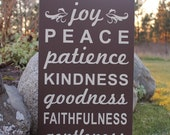 Custom Sign - Fruits of the Spirt - Love Joy Peace Patience Kindness Goodness Faithfulness Gentleness Self Control - wood sign, subway sign