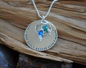 Disc Necklace - Sterling Silver Necklace - Personalized with Birthstones - Best Friends, Sisters - Birthday, Anniversary, Mothers Day,Sister