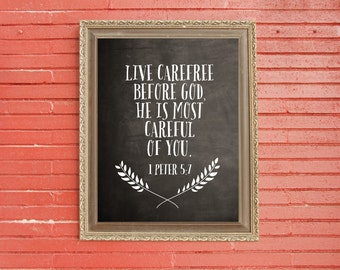 1 Peter 5:7 Carefree Downloadable Print