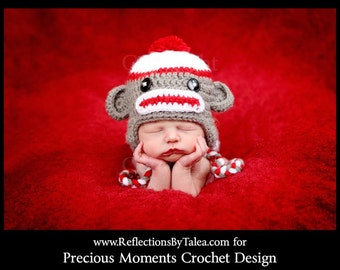 Newborn Sock Monkey Hat, Baby Sock Monkey Hat, Baby Boy Sock Monkey Hat, Newborn Photo Prop, Newborn Boy Hat, Newborn Girl Hat