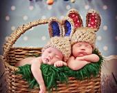 Newborn Baby Twins Photo Prop Bunny Ears Hat