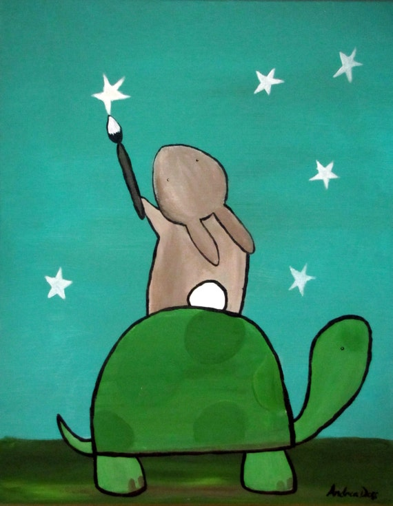 Childrens Wall Art Painting Stars Turtle And Bunny By