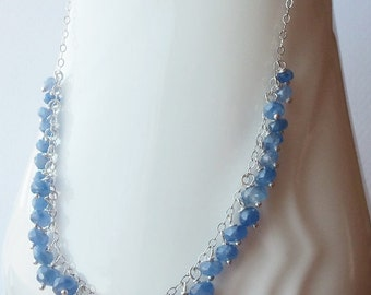AAA Sapphire Gemstone Necklace Wire Wrapped with Sterling Silver
