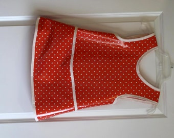 SALE 20% OFF Kids 6/7 Criss Cross Back Long Girls Art Smock Art Apron in Vintage Coral and Dot