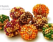 Beaded Bead Pairs - 10mm discs-  autumn holiday red green gold brown orange