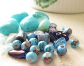 Upcycled Supplies - Bead Mixed Lot - Beautiful Blues