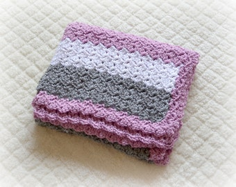 Crochet Baby Striped Blanket Shell Stitch Stroller/Carseat/Travel Blanket - Blackberry, Heather Grey, White - MADE TO ORDER