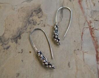 Sterling Silver Earrings, Shiny Silver Earrings, Wheat Earrings, Barley Earrings, Dangle Earrings, Woodland Earrings, Simple Earrings K#373