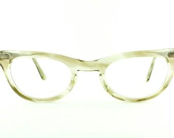 Vintage Deadstock 60's Shuron Cat Eye Clear Smoke Eyeglass Frames USA  - FREE Domestic Shipping