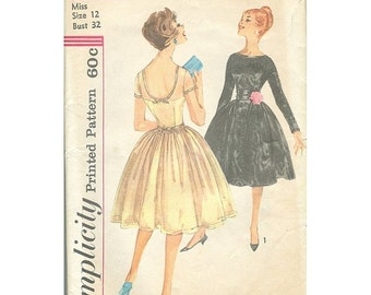 Simplicity 3219 1950s Party Dress With Cummerbund
