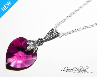 Fuchsia Heart Crystal Necklace 925 Sterling Silver Hot Pink CZ Heart Necklace Swarovski Fuchsia Crystal Necklace Pink Heart Wedding Pendant