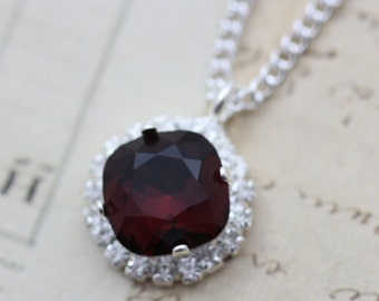 "Burgundy Necklace Swarovski Crystal Necklace Coordinate Bridesmaid Necklace Maroon Wedding Jewelry Set MOB MOG Gift 16 - 18"" Adj Silver"