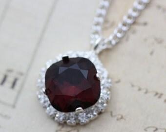 "Burgundy Necklace Swarovski Crystal Necklace Coordinate Bridesmaid Necklace Maroon Wedding Jewelry Set MOB MOG Gift 16 - 18"" Adj Silver"