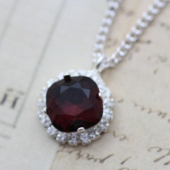 """Burgundy Necklace Swarovski Crystal Bridesmaids Necklace Wedding Maroon Dark Red Crystal Necklace 16"""" Silver"""