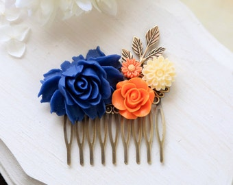 Orange and Cobalt Blue Wedding Hair Comb, Cobalt Blue Orange Ivory Wedding Bridal Hair Comb, Bridesmaid Hair Comb