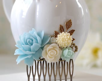 Aqua Blue Ivory Flowers Hair Comb Leaf Branch Floral Hair Accessory Leaf Hair Comb Bridal Hair Comb Aqua Blue Wedding Hair Accessory