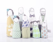 Stocking Stuffer -12th scale Miniature,Handmade Family Modern Dolls for Dollhouse,Grandparents, parents &children in mint,blue,green Shades