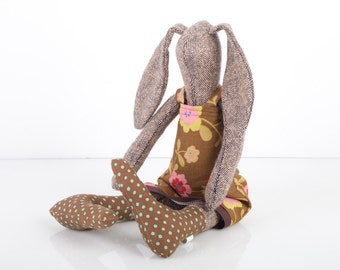 Stuffed Bunny - knitted silk  plush rabbit Wearing Brown Red Pink Floral Retro dress & Dotted socks - handmade fabric eco doll