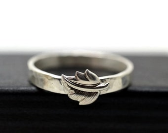 Silver Leaf Ring, Men's Woodland Wedding Band, Narrow Wedding Ring, Custom Engraved Sterling Silver Forest Ring, Pagan Nature Inspired Ring