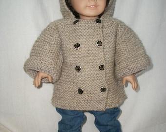 Knitting Pattern Garter Coat for 18 inch Doll American Girl PDF