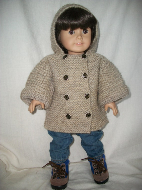 Knitting Pattern For Dolls Coat : Knitting Pattern Garter Coat for 18 inch Doll American Girl