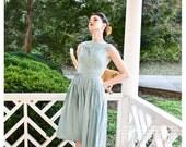 r e s e r v e d   50s 1950s - blue green summer frock with floral detail and portrait neckline - size XS